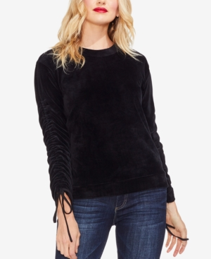 Vince Camuto Velour Ruched Tie-Sleeve Top In Rich Black