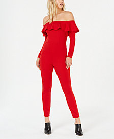 Material Girl Juniors' Off-The-Shoulder Ruffle Jumpsuit, Created for Macy's