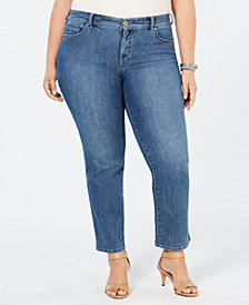 Style & Co Plus & Petite Plus Size Tummy Control Straight-Leg Jeans, Created for Macy's