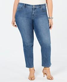 b8448bd3555eb Style   Co Plus   Petite Plus Size Tummy Control Straight-Leg Jeans