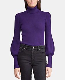 Lauren Ralph Lauren Petite Ribbed Puff-Sleeve Sweater