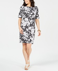 Karen Scott Petite Garden Printed Dress, Created for Macy's