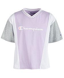 Champion Big Girls Colorblocked Logo-Print T-Shirt