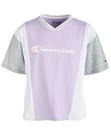 Champion Little Girls Colorblocked Logo-Print T-Shirt