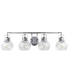 JONATHAN Y Shirley 4-Light Metal, Bubbled Glass Vanity Light