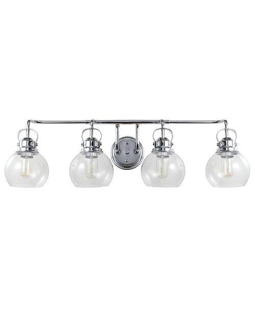 JONATHAN Y Shirley 4-Light Metal, Bubbled Glass Vanity Light