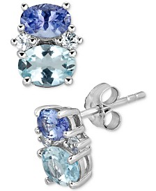 Multi-Gemstone Stud Earrings (2-7/8 ct. t.w.) in 10k White Gold