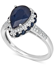 Sapphire (4-1/2 ct. t.w.) & White Sapphire (1/4 ct. t.w.) Ring in 10k White Gold
