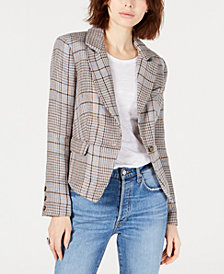 Free People Chess Linen Menswear Plaid Blazer