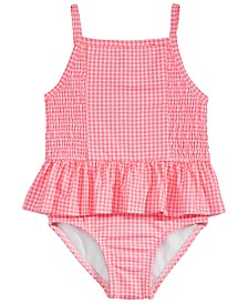 Penelope Mack Little Girls 1-Pc. Gingham-Print Swimsuit