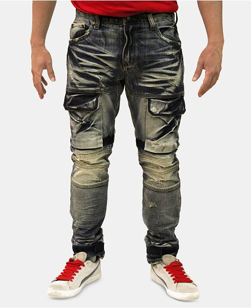 68581105ff2d1 Heritage America Men s Slim-Straight Fit Moto   Dye Jeans   Reviews ...