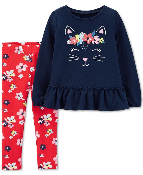 2159e4b46e3 Carter's Toddler Girls 2-Pc. Kitten Tunic & Leggings Set & Reviews ...