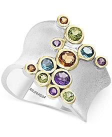EFFY® Multi-Gemstone Bezel Ring (1 ct. t.w.) in Sterling Silver & 14k Gold