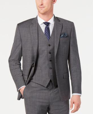 Men's Classic-Fit UltraFlex Stretch Gray Sharkskin Suit Jacket