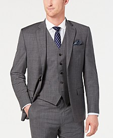 Men's Classic-Fit UltraFlex Stretch Grey Sharkskin Suit Jacket