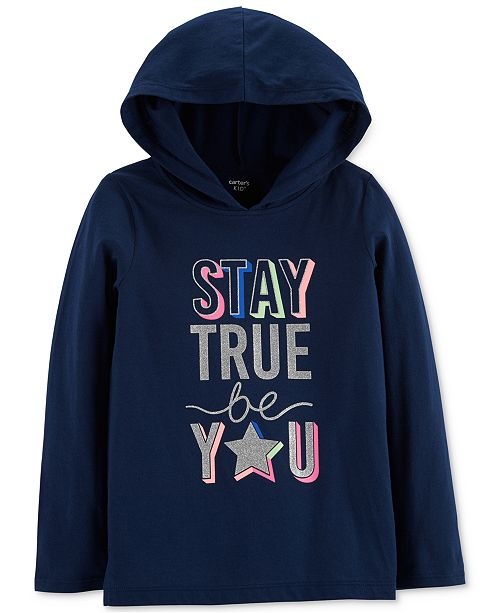 Carter's Little & Big Girls Hooded Graphic-Print Cotton Top