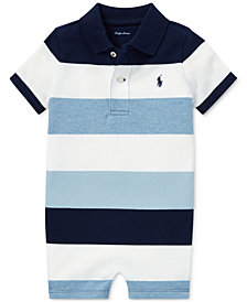 Polo Ralph Lauren Baby Boys Striped Mesh Cotton Polo Shortall