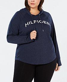 Tommy Hilfiger Sport Plus Size Logo Raglan-Sleeve Hoodie