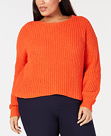 Eileen Fisher Plus Size Organic Cotton Ribbed Top