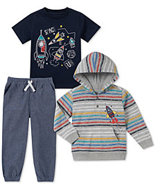 Kids Headquarters Baby Boys 3-Pc. Rocket T-Shirts & Jogger Pants Set
