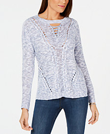 NY Collection Petite Lace-Up Sweater