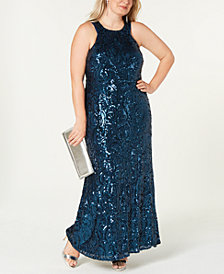 Morgan & Company Plus Size Swirling Sequins Gown