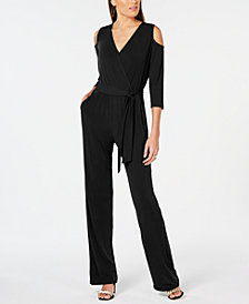 NY Collection Petite Cold-Shoulder Wide-Leg Jumpsuit