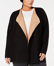 Eileen Fisher Plus Size Organic Open-Front Cardigan
