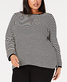 Eileen Fisher Plus Size Organic Cotton Striped Top