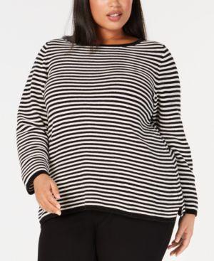 Stripe Organic Cotton Chenille Sweater in Soft White/Back