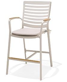 Modern Tropic Teak Outdoor Bar Chair, Created For Macy's