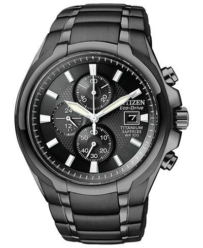citizen men s chronograph eco drive black titanium carbide ion citizen men s chronograph eco drive black titanium carbide ion plated bracelet watch 42mm ca0265