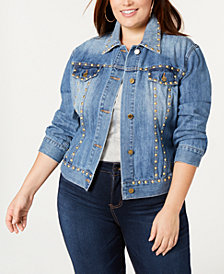 MICHAEL Michael Kors Plus Size Studded Cotton Denim Jacket