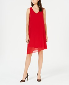 I.N.C. V-Neck Asymmetrical-Hem Sheath Dress, Created for Macy's