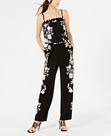 I.N.C. Printed Wide-Leg Jumpsuit, Created for Macy's