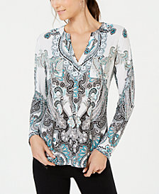 I.N.C. Printed Front-Pocket Top, Created for Macy's