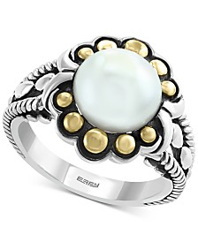 EFFY® Cultured Freshwater Pearl (9mm) Flower Ring in Sterling Silver & 18k Gold Over Silver
