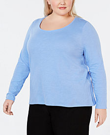 Eileen Fisher Plus Size Scoop-Neck Organic Cotton Top