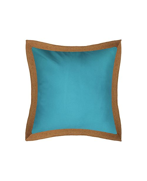 Edie@Home Raffia Flange Outdoor Pillow