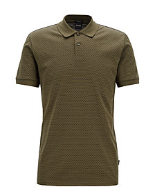 BOSS Men's Slim Fit Micro-Pattern Cotton Polo
