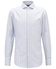 BOSS Men's Slim Fit Checked Twill Cotton Shirt