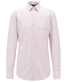 BOSS Men's Slim Fit Striped Cotton Shirt