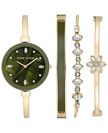 Anne Klein Women's Gold-Tone Bangle Bracelet Watch Set 32mm