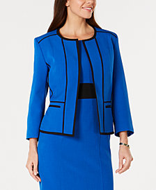 Kasper Contrast-Trim Collarless Jacket