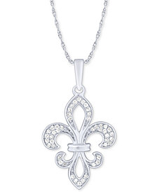 "Diamond Fleur-de-Lis 18"" Pendant Necklace (1/6 ct. t.w.) in 10k White Gold"