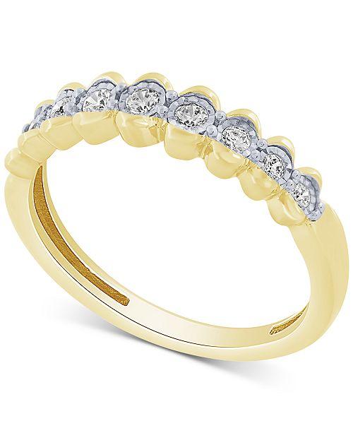 Macy's Diamond Scalloped Band (1/5 ct. t.w.) in 10k Gold
