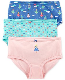Little & Big Girls 3-Pk. Princesses & Hearts Printed Underwear