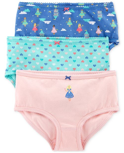 Carter's Little & Big Girls 3-Pk. Princesses & Hearts Printed Underwear