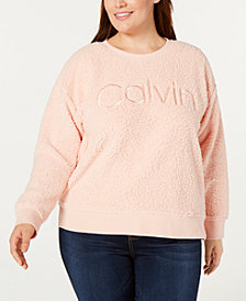 Calvin Klein Performance Plus Size Embroidered Logo Fleece Top
