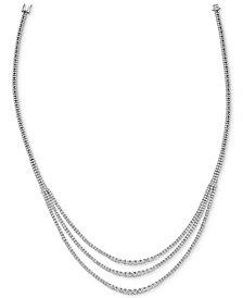 "Diamond Three Strand 18"" Statement Necklace (10 ct. t.w.) in 14k White Gold"